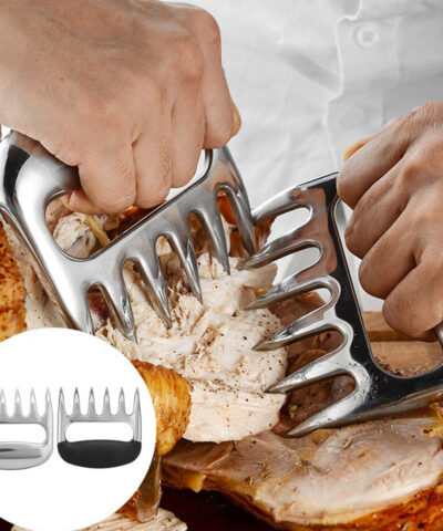 2 Pcs/Set Non-stick Meat Divider Stainless Steel Bear Claw Barbecue Fork Food Dividing Machine Meat Tearing Cutting Tool