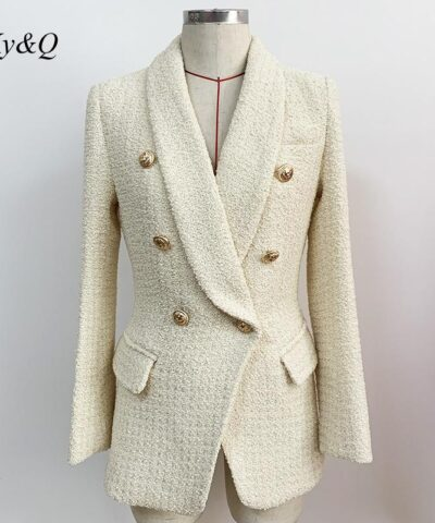 2020 Autumn Winter New Trend Women Tweed Coats Gentle Lady Elegant Slim Outwear Office Ladies Long Sleeve Lapel Suit Blazer