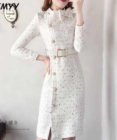 2020 New Arrival Autumn And Winter Runway Women Elegant Tweed Dress Long Sleeve Female Fashion Chic Vestidos