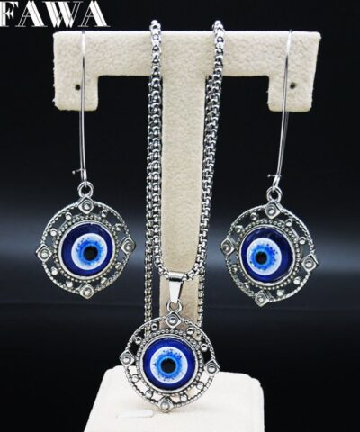 2021 Blue Eyes Stainless Steel Jewellery Sets Women Silver Color Earring Necklace Sets jewelry joyeria acero inoxidable S178727