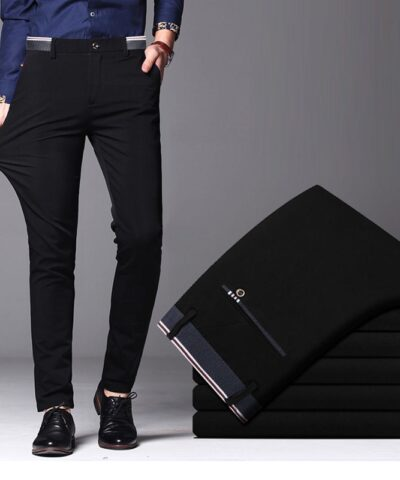 2021 Men's Spring Autumn Fashion Business Casual Long Pants Suit Pants Male Elastic Straight Formal Trousers Plus Big Size 28-40