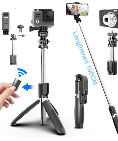 4 In1 Bluetooth Wireless Selfie Stick Tripod Foldable & Monopods Universal for Smartphones for Gopro and Sports Action Cameras