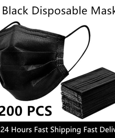 Black 3-layer Mask 10/50/100/200pcs Face Mouth Masks Melt Blown Cloth Disposable Anti-Dust Masks Earloops Masks