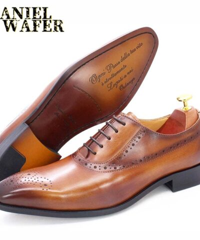 Classic Style Men Oxford Shoes Brogue Genuine Leather Shoes Black Brown Lace up Formal Shoes Wedding Office Dress Shoes Men