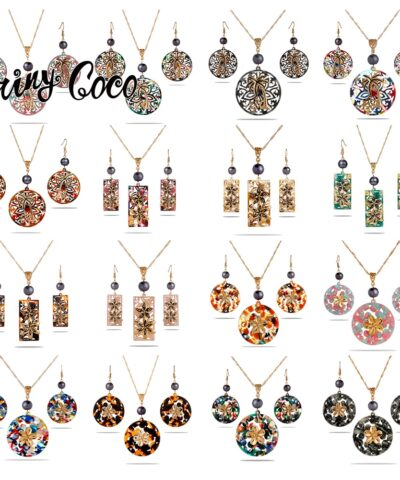Cring Coco Round Jewelry Sets Trendy Guam Hawaiian Kiribati Flower Acrylic Alloy Drop Earring Earrings Necklaces for Women 2021