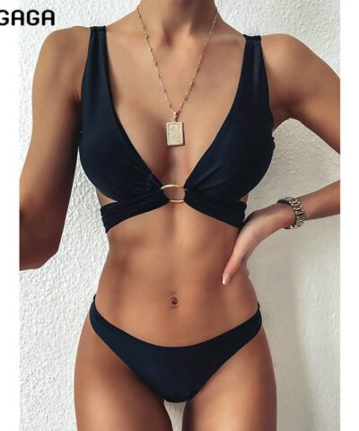 INGAGA 2021 Black Bikinis Swimsuits Cross Bandage Swimwear Women Solid Push Up Bathing Suit