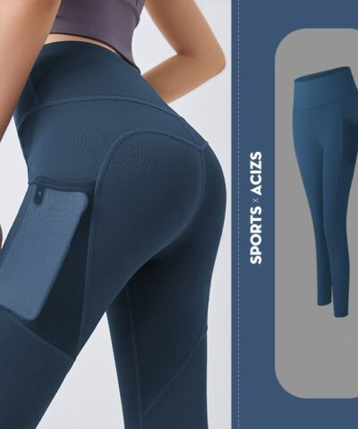 Ladies pocket tight yoga pants leggings women's sports leggings running leggings women's fitness pants high waist sportswear