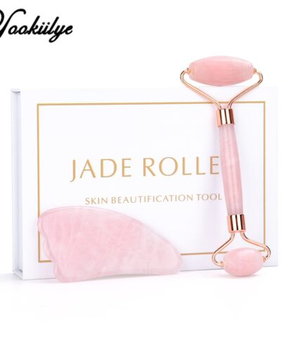 Rose Quartz Jade Roller Face Slimming Massager Face Lifting Natural Jade Stone Facial Massage Roller Skin Care Beauty Set Box