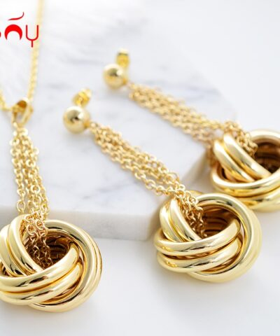 Sunny Jewelry Fashion Jewelry 2021 Jewelry Sets For Women Necklace Earrings Pendant Twisted Circles For Party Daily Anniversary