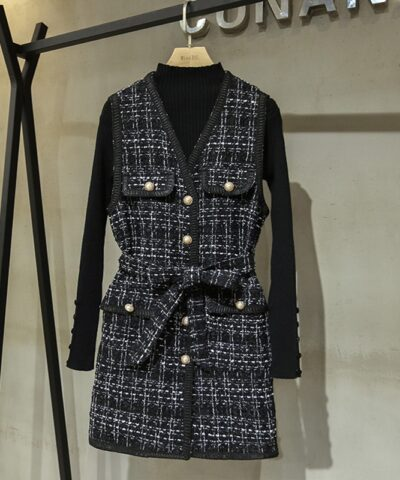 Tweed Plaid Wool Vest Dress Black Turtleneck Button Knit Top Winter 2PCS Set Women Elegant Pearls Single-Breasted V-Neck Sashes