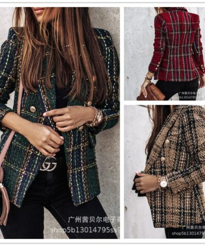 WEPBEL Women 2020 Fashion Double Breasted Check Tweed Blazers Coat Vintage Long Sleeve With Buttons Female Outerwear Chic Tops