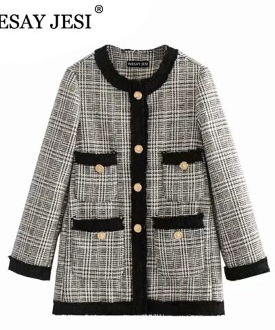WESAY JESI Elegant Spring Autumn Black And White Grid Plaid Women Long Sleeve Tweed Coat Short Office Ladies Pocket Suit Blazer