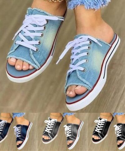 Women Summer Sandals Flats Shoes Woman Sexy Slippers Slides Lace Up Plus Size Denim Jean Sandalias Mujer